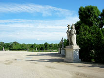 Beautiful statues in the garden of the lower Belvedere Palace. Stock Photo