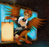 Beautiful steampunk girl with wings stock illustration