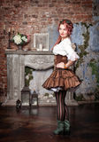 Beautiful steampunk woman posing Royalty Free Stock Images