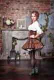 Beautiful steampunk woman posing Stock Image