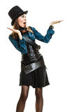 Beautiful steampunk woman showing open palm isolated. Royalty Free Stock Photo