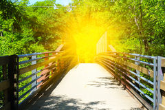 Beautiful steel bridge for bikers and walking Stock Photo