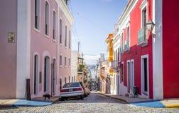 Beautiful steep street in old San Juan, Puerto Rico Royalty Free Stock Image