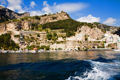 Beautiful steep village of Amalfi. On the Costiera Amalfitana in Southern Italy royalty free stock photo