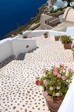Beautiful steps and blue sea in Santorini Stock Images