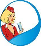 Beautiful stewardess with air ticket. Stock Image
