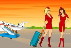 Beautiful stewardess with air ticket. royalty free illustration