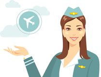 Beautiful stewardess with airline in flat style Royalty Free Stock Photography