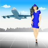Beautiful Stewardess at the airport Royalty Free Stock Photo