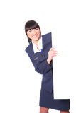 Beautiful stewardess with a blank Stock Photo