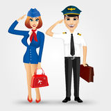 Beautiful stewardess and handsome pilot Stock Photos