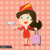 Beautiful stewardess with red uniform Royalty Free Stock Photography