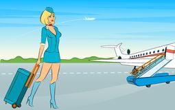 Beautiful stewardess with suitcase. Royalty Free Stock Images