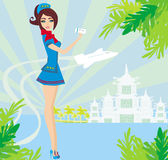 Beautiful stewardess with ticket , Abstract card with palm leave Stock Photo