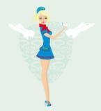 Beautiful stewardess with ticket Stock Image