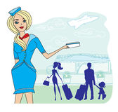 Beautiful stewardess with ticket Royalty Free Stock Photos