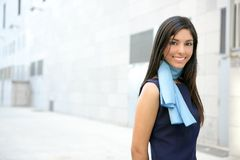 Beautiful stewardess walking to convention center Royalty Free Stock Photography