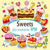 Beautiful Sticker Set Holiday Sweets Stock Photography