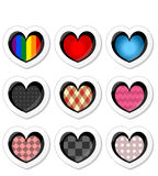 Beautiful stickers with hearts Stock Photography