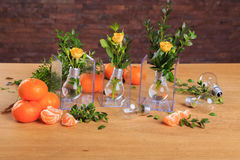Beautiful still life of flowers and fruit Royalty Free Stock Photo