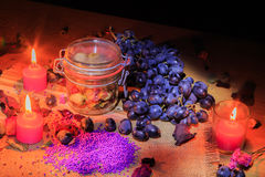 Beautiful still life of fruit and lamps Royalty Free Stock Photography