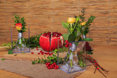 Beautiful still life of fruit and lamps Royalty Free Stock Image