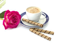 Beautiful still life rose and cappuccino Royalty Free Stock Photography