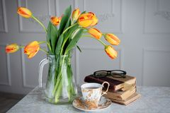 Beautiful still life with tulips Royalty Free Stock Image