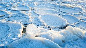 Beautiful iced waves at lake stock photography