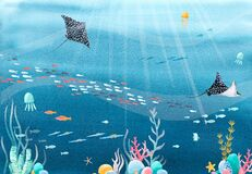 Beautiful stock illustration with watercolor underwater sea life scenery.