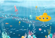 Beautiful stock illustration with watercolor underwater sea life and yellow submarine scenery.