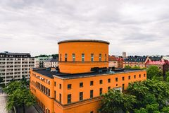 Beautiful Stockholm Stadsbibliotek & x28;City Library& x29;. By Historical Swedish Architect Gunnar Asplund. Built in 1928.Front/Side View Landscape royalty free stock photography