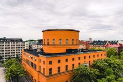 Beautiful Stockholm Stadsbibliotek City Library. By Historical Swedish Architect Gunnar Asplund. Built in 1928. Front/Side View Landscape. Stockholm, Sweden 17/ stock image