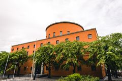 Beautiful Stockholm Stadsbibliotek City Library. By Historical Swedish Architect Gunnar Asplund. Built in 1928. Front/Side View Landscape. Stockholm, Sweden 17/ royalty free stock image