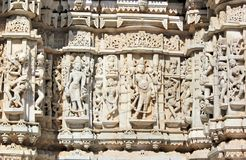 Beautiful stone carving at ancient sun temple at ranakpur Stock Image