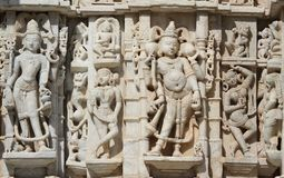 Beautiful stone carving at ancient sun temple at ranakpur Stock Photos