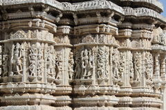 Beautiful stone carving at ancient sun temple at ranakpur Stock Photo