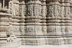 Beautiful stone carving at ancient sun temple at ranakpur Royalty Free Stock Images