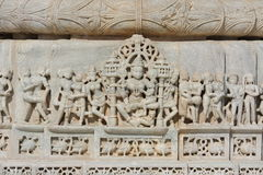 Beautiful stone carving at ancient sun temple at ranakpur Royalty Free Stock Image