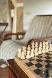 Beautiful stone chess board close-up. In cozy living room Royalty Free Stock Photo