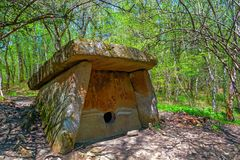 Beautiful stone dolmen in Caucasus stock photography