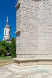 Beautiful stone embroidery on the outer church of Monastery The Stock Photos