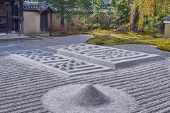 Beautiful stone and green nature zen style at Kōdaiji temple. A Serene setting with a buddhist temple with seasonal light festivals in Kyoto, Japan stock photography