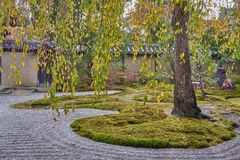 Beautiful stone and green nature zen style at Kōdaiji temple. A Serene setting with a buddhist temple with seasonal light festivals in Kyoto, Japan stock photo