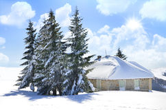 Beautiful stone house among pine trees, winter christmas background Royalty Free Stock Photo