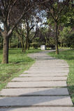 Beautiful Stone Path Across The Park Royalty Free Stock Image