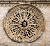 Beautiful stone rose window Cathedral of Acquaviva, Royalty Free Stock Photos