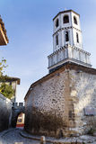 Beautiful  stone street  with   belfry  in the old town of Plovdiv, Bulgaria Royalty Free Stock Photos