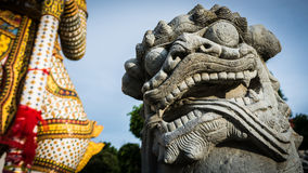 The beautiful of  stone Thai-Chinese style sculpture and thai art architecture . Royalty Free Stock Image