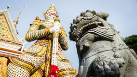 The beautiful of  stone Thai-Chinese style sculpture and thai art architecture . Stock Photos